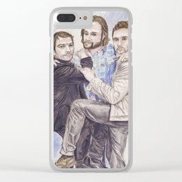 Team Free Will: Misha Collins; Jared Padalecki and Jensen Ackles, watercolor painting Clear iPhone Case