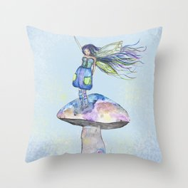 Tiny Fairy of a Mushroom by Washington Artist Heather Saulsbury  Throw Pillow