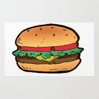 burger Area & Throw Rugs featuring Burger by CGREDNECK