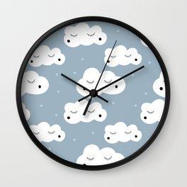 sleepy cloud pattern Wall Clock