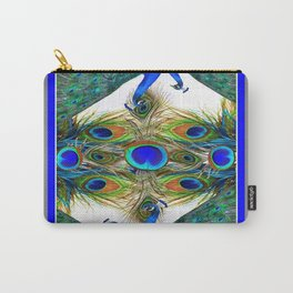 SITTING BLUE PEACOCKS FEATHER PATTERNS ART Carry-All Pouch