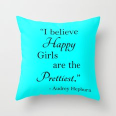 Happy Girls - blue and black Throw Pillow