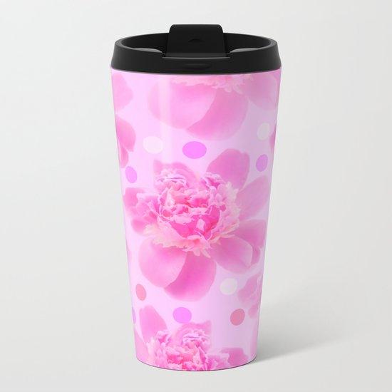 Cute and girly - pink flowers and dots - pink tones - #society6 #buyart Metal Travel Mug
