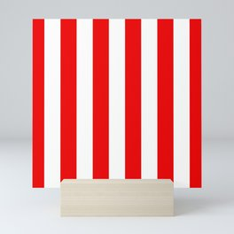 Holidaze Stripe Red White Vertical Mini Art Print