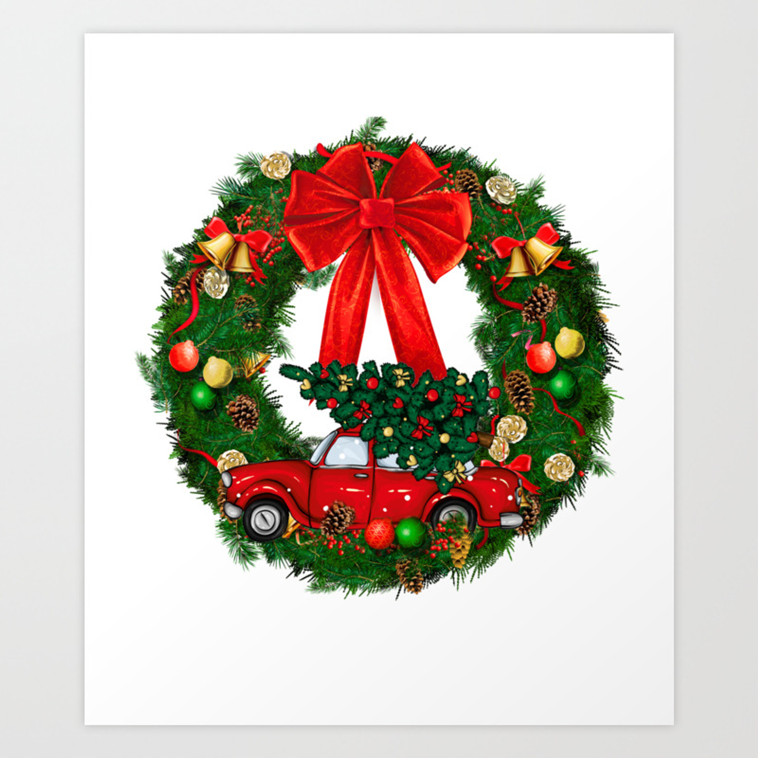 Christmas Red Truck Wreath Art Print By Anuelaaclothing Society6