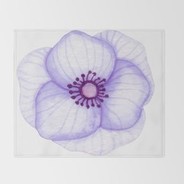 Purple Primula Flower Throw Blanket