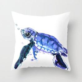 Cute Baby Turtle, blue  turtle art, turtle illustration nursery children gift Throw Pillow