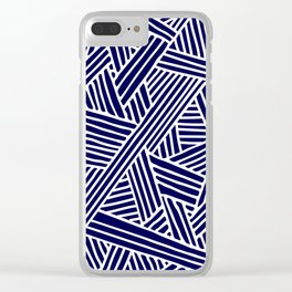 Abstract navy blue & white Lines and Triangles Pattern- Mix and Match with Simplicity of Life Clear iPhone Case