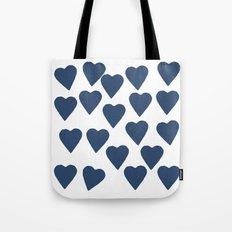 Hearts Navy Tote Bag