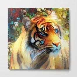 Clover Blossom Tigress Metal Print