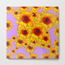 Lilac Purple & Red Center Sunflowers Pattern Metal Print