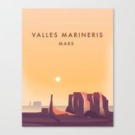 Valles Marineris Mars Sci-fi travel poster. Canvas Print