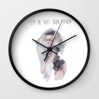 iron maiden Wall Clocks featuring next iron maiden by SOB