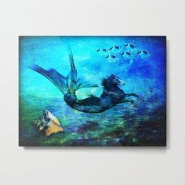 Aquamarine Equine Metal Print