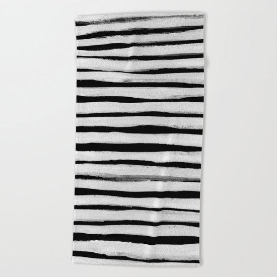 Black and White Stripes II Beach Towel