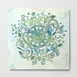 Time To Read - Watercolor Green Metal Print
