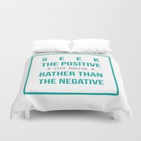 positive Duvet Covers featuring #positive by Cool_Design
