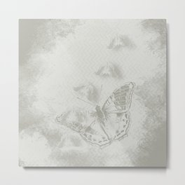 delicate butterflies and textured chevron pattern Metal Print