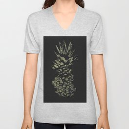 Pineapple with Glitch and Texture Unisex V-Neck