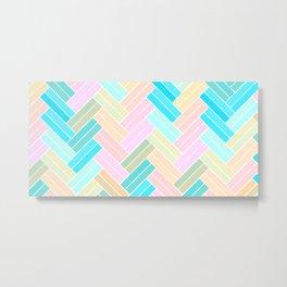 Ombre Pastel Herringbone pattern Metal Print