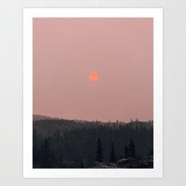 Neon Sun in Glacier National Park Art Print
