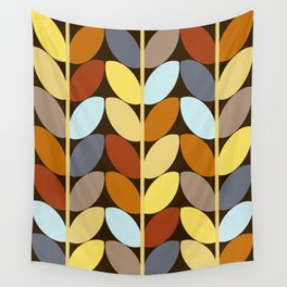 Retro 70s Color Palette Leaf Pattern Wall Tapestry