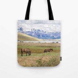 Torres del Paine - Wild Horses Tote Bag