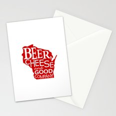 Red and White Beer, Cheese and Good Company Wisconsin Graphic Stationery Cards