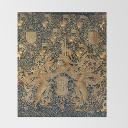 Vintage Golden Deer and Royal Crest Design (1501) Throw Blanket