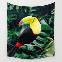 Toucan in Tropical Rainforest with Monstera Leaves Wall Tapestry