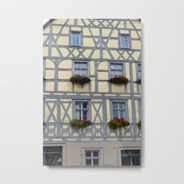 Flower Boxes on Timbered Building Metal Print