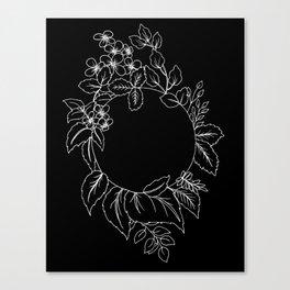 Black Floral Circle Canvas Print