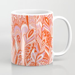 Abstract red coral lilac hand painted bohemian feathers pattern Coffee Mug