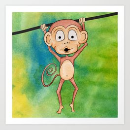 Swinging Monkey Art Print