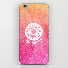 Donut Worry Be Happy Watercolour Print iPhone Skin