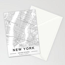 New York Map, Manhattan, USA City Map Stationery Cards