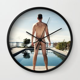 Man Nude by Pool Wall Clock