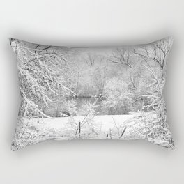 Winter Snow At Huron River Rectangular Pillow