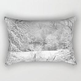 Winter Snow At Huron River Rectangular Pillow