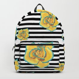 Yellow and Turquoise Rose on Stripes Backpack
