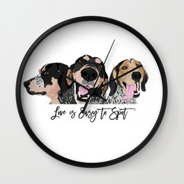 Love is Easy to Spot Bluetick Coonhound Wall Clock