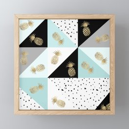 Pastel color block watercolor dots faux gold pineapple Framed Mini Art Print