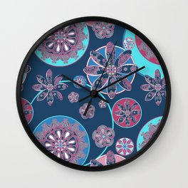 Circles of Flower Blue and Pink Wall Clock