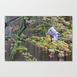 Birdhouses Nestled in a Blooming Japanese Maple Canvas Print