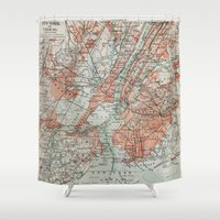 new york map Shower Curtains featuring Vintage Map New York by Map Shop