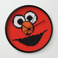 elmo Wall Clocks featuring Knit Elmo by colli1.3designs