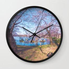 Dreamer's Vision - Sakura blooming along the lake Wall Clock