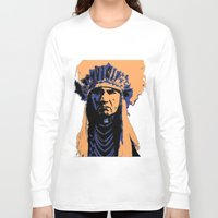 native american Long Sleeve T-shirts featuring Native American Head Dress  by T.E.Perry