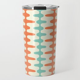 Retro Mid Century Modern Trellis Print Orange and Teal Travel Mug