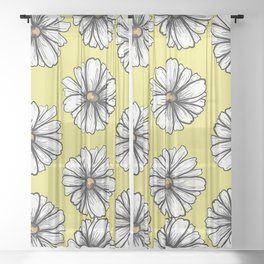 Please Don't Eat the Daisies Chartreuse Sheer Curtain